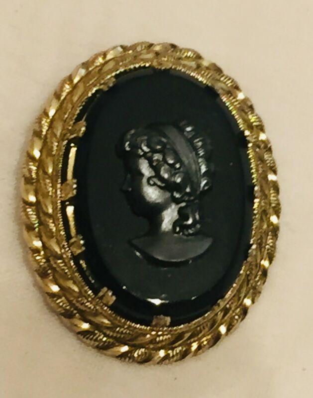 Black Cameo Scarf Dress Clip Gold Antique Victorian Vtg