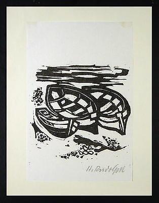 Heinrich Rudolph 1901 Wattenscheid / Linolschnitt, handsigniert / Boote