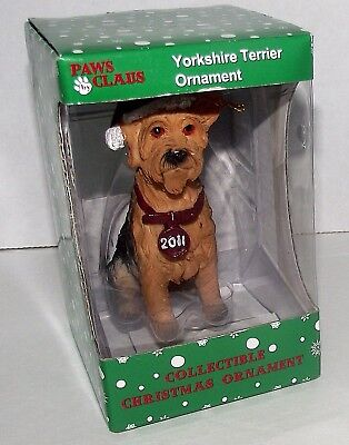 Dog Yorkshire Terrier Christmas Ornament Dated 2011 Paws Claus Stocking Cap NEW ()