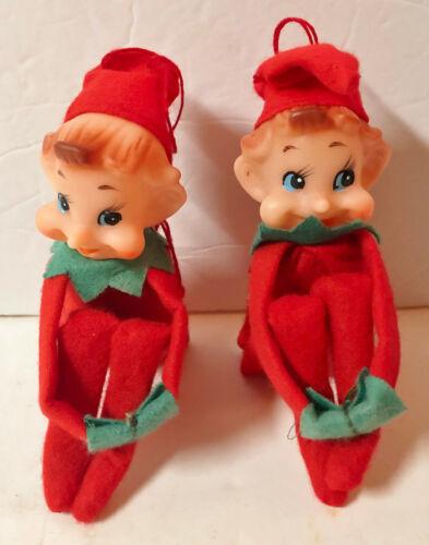 """2 VINTAGE CHRISTMAS KNEE HUGGER ELF PIXIE RED FELT PLASTIC 8"""" JAPAN"""