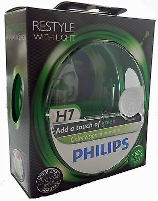 H7 PHILIPS Color Vision green PX26d +60% mehr Licht 2st Set 12972CVPG  7 Color Twin Pack