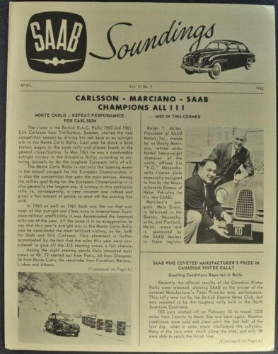 1962 Saab 96 Soundings Brochure Folder Sedan Monte Carlo Excellent Original 62
