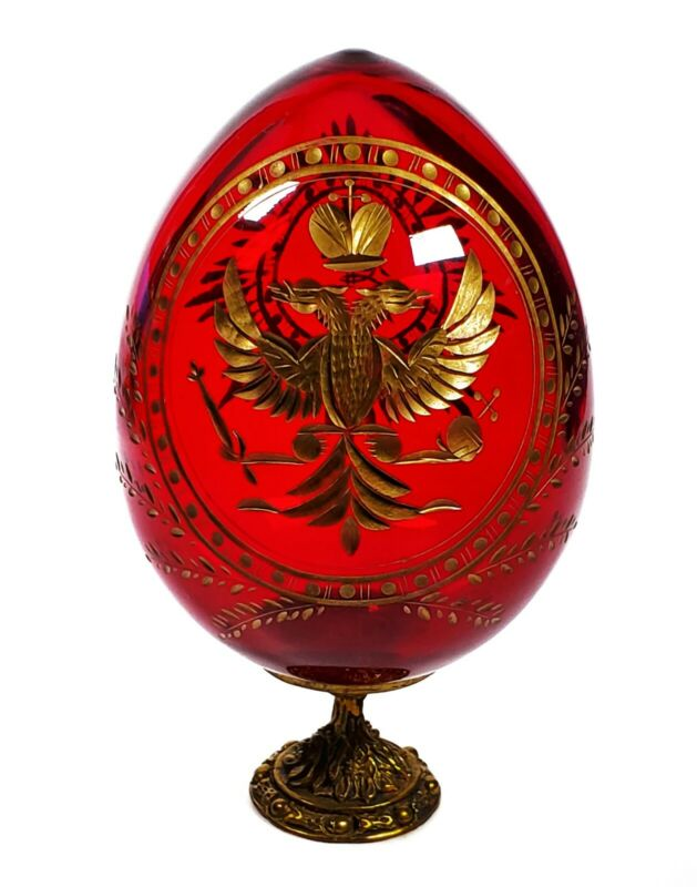 Russian Imperial Red Glass Egg Romanov Double-Headed Eagle