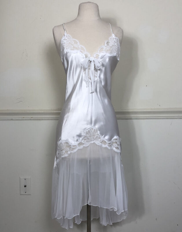 Vtg White Miss Elaine XS Sheer Peignoir Robe Nightgown Negligee SET Bridal USA
