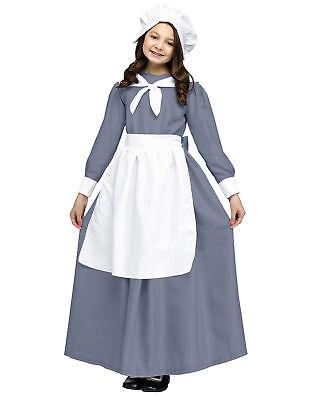 Pilgrim Costume For Girls (Grey White Pilgrim America Colony Girls Child Thanksgiving)