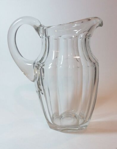 Antique Crystal Water Jug Pitcher Panel Cut Faceted Sides