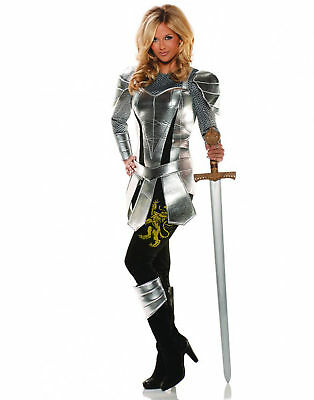 A Knight To Remember Medieval Silver Adult Womens Halloween Costume](Knight Costume Women)