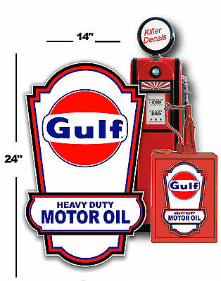 """24"""" X 14"""" GULF LUBSTER SIDE DECAL OIL CAN TANK / GAS PUMP GASOLINE VINTAGE"""