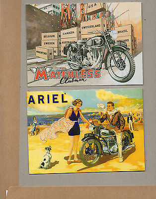 2x vintage Ad gallery cards Matchless 1949 clubman and Ariel Square 4motorcycles