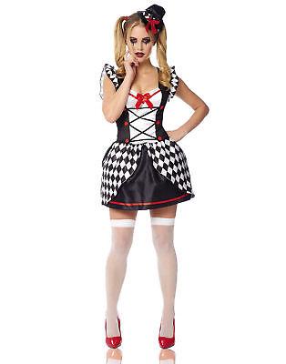 Black And White Harlequin Costume (Black White Checkered Harlequin Villain Adult Womens Halloween)