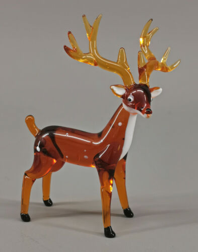 9912050-x Small Glas Figure Deer Standing 3 1/8x4 5/16in Mouth-Blown