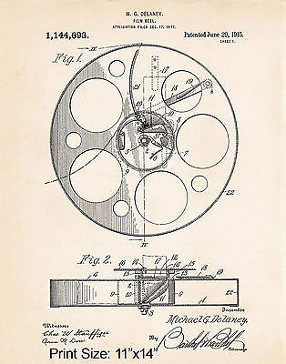 11x14 Movies Film Reel Patent Art Print Movie Theater Decorations Director Gifts - Film Reel Decoration