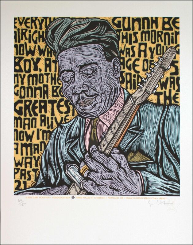 Muddy Waters Poster Portrait Signed Silkscreen Edition of 150 Gary Houston w/COA