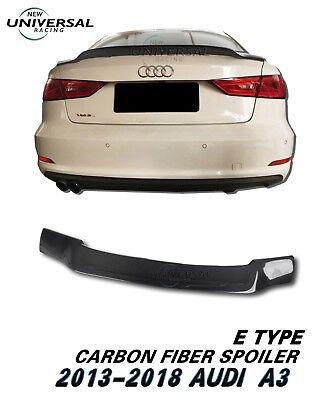 Carbon Fiber Rear Trunk Spoiler Lip For 2013-2018 Audi A3 S3 Sedan 4dr Type E