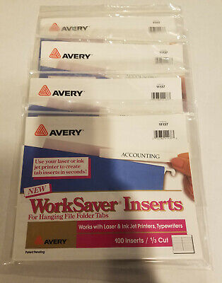 4 - Avery Laserinkjet Hanging File Folder Inserts 13 Tab 3 12 White 100pack