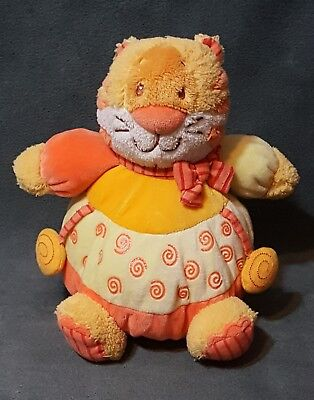 "2007 PRINCESS SOFT TOYS PLUSH ORANGE YELLOW KITTY CAT 7"" W/ BABY RATTLE"