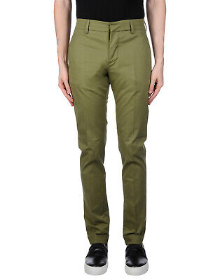 RRP €175 DONDUP Chino Trousers Size 30 Stretch Green Button Fly Made in Italy