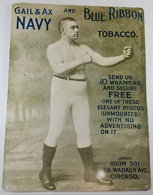 GAIL & AX NAVY BLUE RIBBON TOBACCO JOHN L SULLIVAN BOXING HEAVY DUTY METAL SIGN, used for sale  Chattanooga