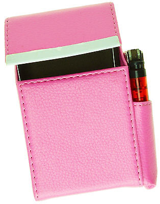 Pink Leather CIGARETTE Hard Case Flip Top Lighter Smoke Holder For Men Women
