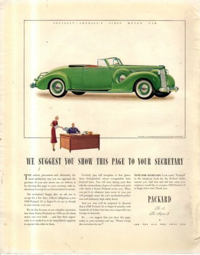 1938 Packard 12 cylinder Original Coupe Roadster ad - Scarce