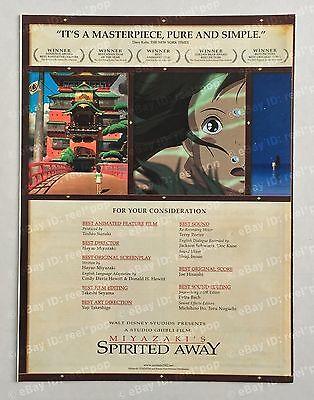 SPIRITED AWAY Hayao Miyazaki BEST DIRECTOR Rare OSCAR AD 2001 BEST PICTURE