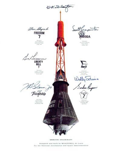 MERCURY CAPSULE MISSION INSIGNIA SIMULATED AUTOGRAPHS  11X14 NASA PHOTO (LG-000)