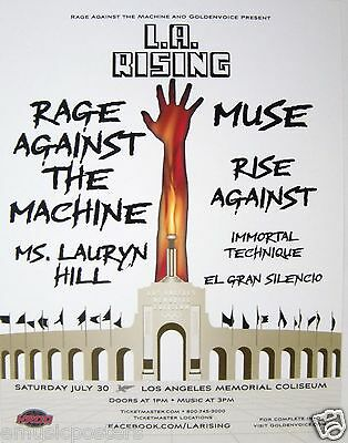 RAGE AGAINST THE MACHINE, RISE AGAINST, MUSE L.A. RISING 2011 CONCERT POSTER - $11.99