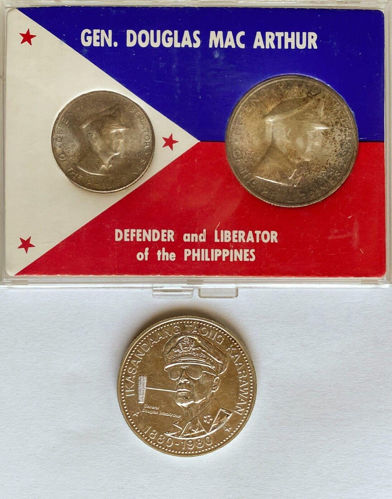 MacArthur, Philippines 1947-S 1 Peso, 1947-S 50 Centavo, 1982 25 Piso - $89.00