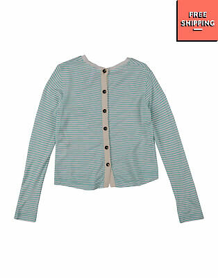 SUN68 Cardigan Size 4Y Striped Y Neck Button Front