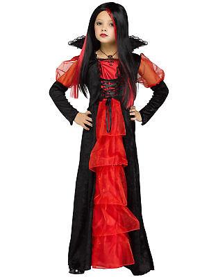 Red Black Victorian Vampiretta Gothic Girls Child Halloween Costume