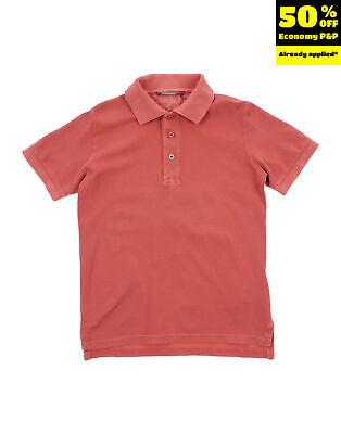 OFFICINA 51 Polo Shirt Size 4Y Garment Dye Half Button Short Sleeve