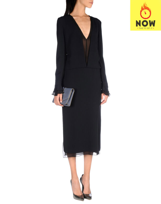 RRP €1850 TOM FORD Midi Blouson Dress Size 38 / S Contrast Silk Made in Italy
