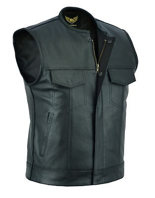 Men's SOA Collarless Outlaw Motorcycle Biker Leather Vest concealed carry arms