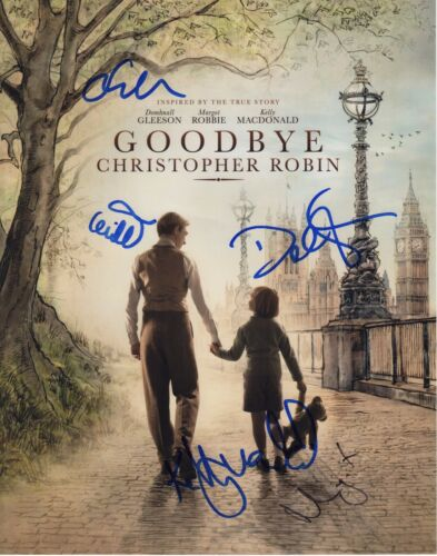 GOODBYE CHRISTOPHER ROBIN CAST SIGNED 11X14 PHOTO! MARGOT ROBBIE AUTOGRAPH