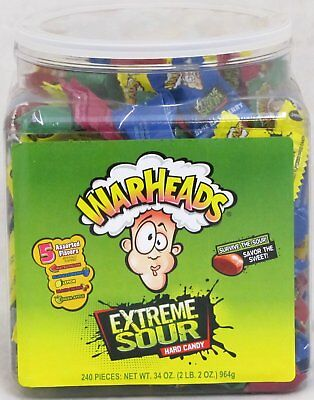 Warheads Extreme Sour Hard Candy 240 Count Tub War Head Bulk Candies Over 2 - Sour Hard Candy