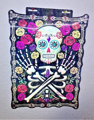 Poster 3-d Bild Totenkopf Toten-Schädel  Tag der Toten Day of Fasching Halloween (Tag Der Toten Poster)