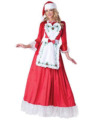 Mrs. Claus Rot Weißes Kleid Schürze Santa Erwachsene Damen Weihnachten (Damen Mrs Santa Kostüm)