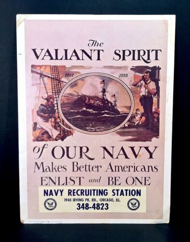 Vintage 1975 U.S. Navy Recruiting Office Original Vietnam Era Wall Poster