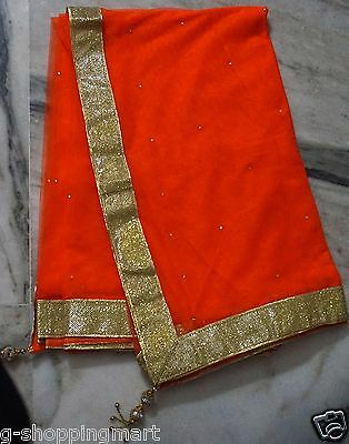 Soft Net Gold Bollywood Saree Party Wear Indian Pakistani Designer Sari Orange