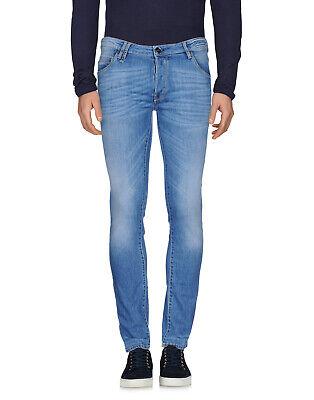 RRP €190 PT05 Jeans Size 32 Stretch Blue Garment Dye Faded Effect Zip Fly