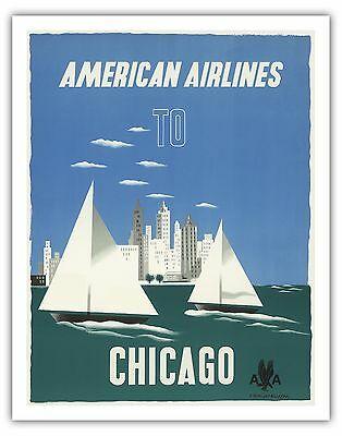 Chicago Illinois USA Windy City Vintage Airline Travel Art Poster Print Giclee (Usa Windy City)