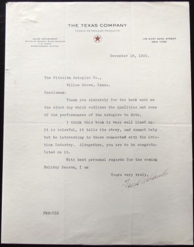 Frank Hawks Record Breaking Pilot Aviation Pioneer Signed Letter Killed in 1938.
