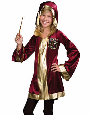 Young Magic Student Red Gold Robe Wizarnay Delights Kids Halloween Costume