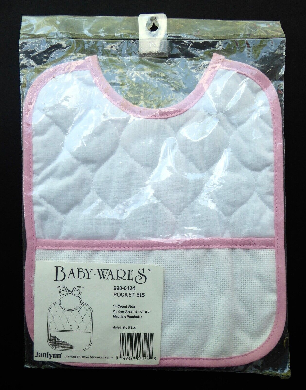 JANLYNN Baby Personal Wares Quilted Baby Bib W/ Cross Stitch
