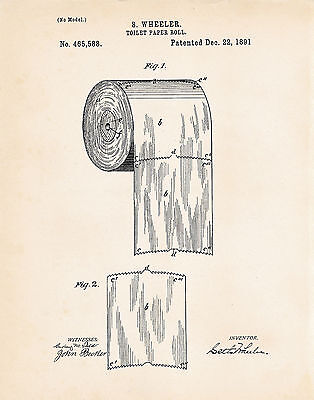 Toilet Paper Roll Bathroom Powder Room Decor US Patent Art Print Wall Poster