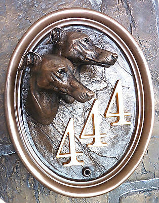 WHIPPET GREYHOUND BRONZE SIGN PLAQUE DOG FIGURINE BUST HEAD K9 ART SCULPTURE