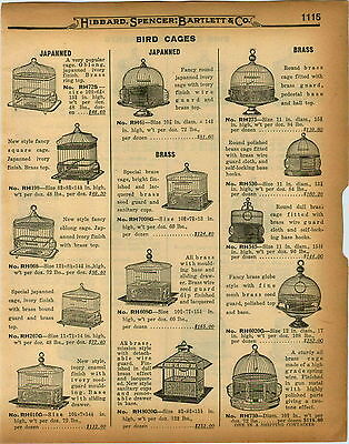 1926 PAPER AD 2 Sided Hendryx Bird Cage Cages 24 Images Brass Round Globe Shape