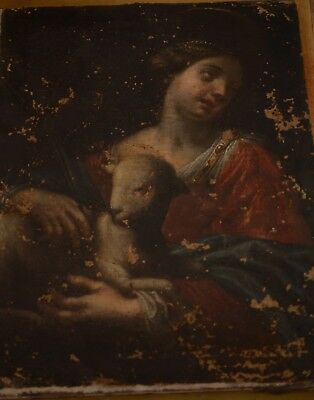 Fine Antique 18th Century Saint Agnes Oil On Canvas Painting RENI