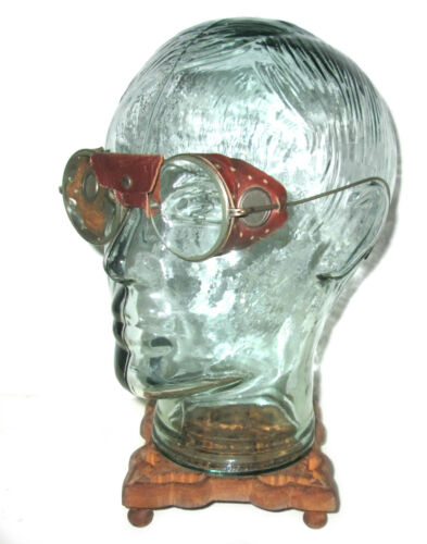 Antique Willson / FORD Leather Goggles Safety Glasses Vtg Steampunk Spectacles W