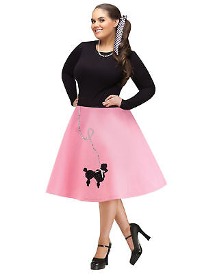 Pink Black 1950S Poodle Skirt Adult Plus Size Womens Halloween Costume - 1950s Halloween Costume
